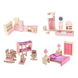 4 Set Dollhouse Furniture Kid Toy Bathroom Kid Room Bedroom