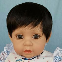 "4 INFANT WIGS, 11-12"" Dark Brown, for reborns, toddlers or b"