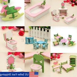 4 Lots Wooden Dolls House Miniature Accessory Home Furniture