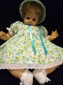 "4 PIECE FLORAL DRESS SET FOR 22"" MADAME ALEXANDER BABY DOLL"
