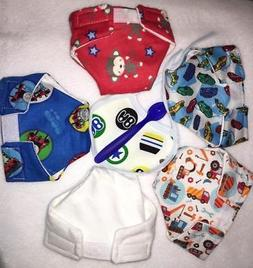 5 BOY BABY DOLL CLOTH DIAPERS CARS TOOLS MONKEY TRAIN FIT SO