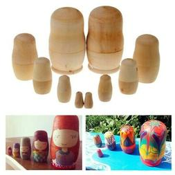 5xUnpainted DIY Blank Wooden Embryos Russian Nesting Dolls M