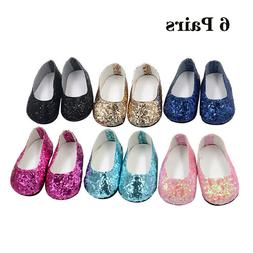 6Pairs Modern Doll Shoes Sparkle Sequined Shoes For 18 inch