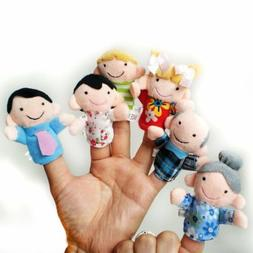 6Pcs Family Finger Puppets Cloth Doll Baby Play Game Learn S