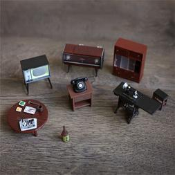 6Pcs/ Set Vintage Wooden Furniture Retro Dolls House Miniatu
