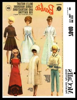 7840 McCall's BARBIE Pattern Fashion Doll Fabric Sewing & Kn
