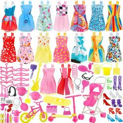 114 Pcs Barbie Doll Clothes Gown Outfits Accessories Girl Gi