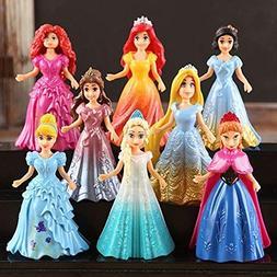 8pcs Cute Princess Action Figures Changed Dress Doll Kids Gi