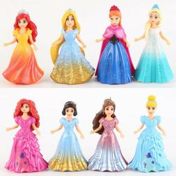8PCS DIY Changed Dress Disney Princess Magiclip Action Figur