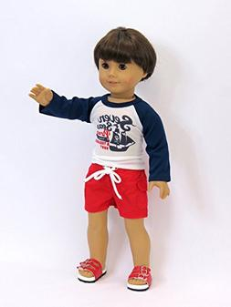 Boy's Pirate Rash Guard and Trunks for 18 inch doll