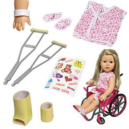 Doll Wheelchair Set with Accessories for 18 Inch Dolls Like