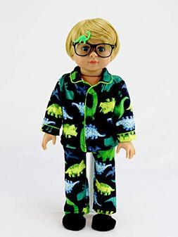 "Green Yellow Dino Pajamas for Boys | Fits 18"" American Girl"