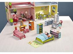 HABA Little Friends Deluxe Dollhouse Furniture Set with 5 Ro