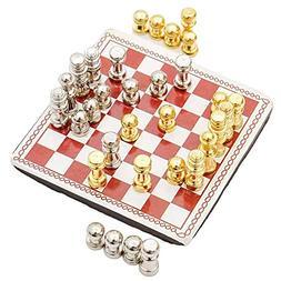 Odoria 1:12 Miniature Metal Chess Set 32 Chesses and Chessbo
