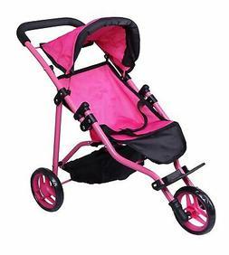 Precious Toys Jogger Hot Pink Doll Stroller, Black Foam Hand