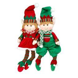 "SCS Direct Elf Plush Christmas Stuffed Toys- 12"" Boy and Gir"