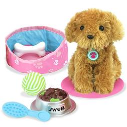 """Sophia's 18"""" Doll Sized Puppy with Bed, Food, Bone & Accesso"""