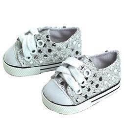 Sophia's 18 Inch Doll Sneakers. Silver Glitter Doll Sneakers