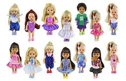 ZITA ELEMENT Lot 6 PCS Fashion Clothes Outfit for Kelly Doll