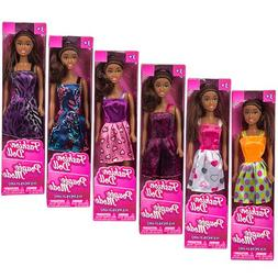 "African-American Fashion Dolls, 11"". Set of 6 with different"