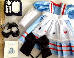"Alice in Wonderland Costume for American Girl Doll 18"" Cloth"