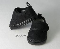 "All Black Sneakers for 18 inch American Girl or Boy 15"" Doll"
