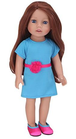 Sophia's Auburn Doll 18 Inch Vinyl Girl Doll with Teal Dress