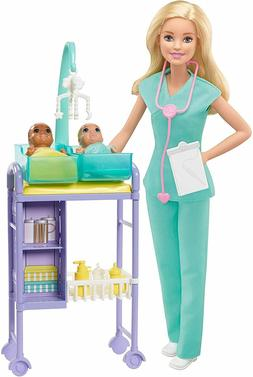 barbie baby doctor playset with blonde doll