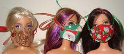 Barbie Doll Holiday Themed Face Masks Set of Three DOLLS NOT