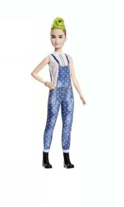 Barbie *FASHIONISTA DOLL* Green Mohawk Hair Denim Overalls #
