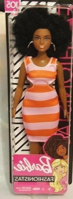 BARBIE Fashionistas African American Curvy Doll #105 Afro Ha