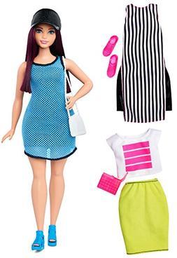 Barbie Fashionistas Doll - Blue Dress, White & Black Tunic,
