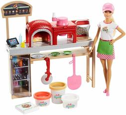 Mattel Barbie Pizza Chef Doll and Playset , gift toy for bab