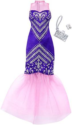 Barbie Fashion Pack Purple And Silver Mermaid Gown Silver Br