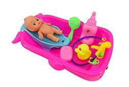 Bathtime Doll Bath Set Mini Whale Bathtub Toy with Baby Doll