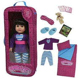 18 Inch doll Travel Case - Includes Doll sleepover set with