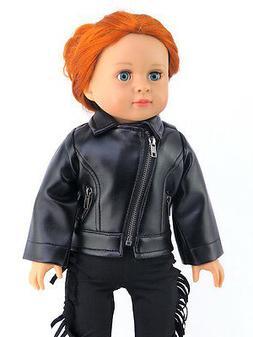 "Black Leather-like Jacket Fits American Girl or Boy 18"" Doll"
