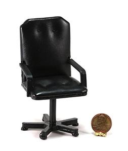 Dollhouse Miniature Black Leather Look Office Desk Chair by