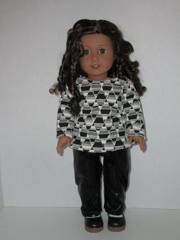 """Black Print Sweater/Leather-like Pants for 18"""" Doll Clothes"""