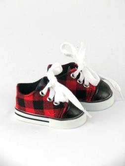 Black & Red Plaid Sneakers Shoes For 18 Inch American Girl o