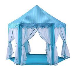 ZOUQILAI Blue Princess Castle Tent Indoor Kids Play Tent Out