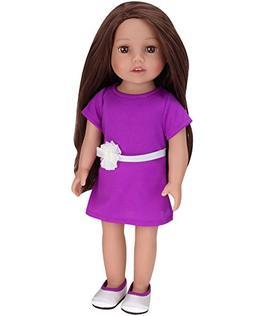 Sophia's Brunette Doll 18 Inch Vinyl Girl Doll with Purple D