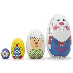 "5"" Set of 4 Bunny, Sheep, Chick & Flower Easter Egg Wooden N"