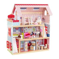 KidKraft Chelsea Wooden Doll Cottage with 17 Pieces of Furni