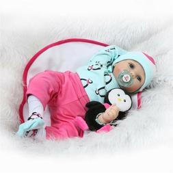 Child gifts 22'  blue eyes Silicone Vinyl Reborn Baby dolls