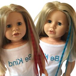 Clip In Hair Extensions Blue & Red for 18 inch Dolls and Ame