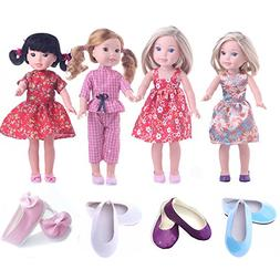 CUTE Clothes for American Girl Dolls:- 4set+4shoes for 14.5i