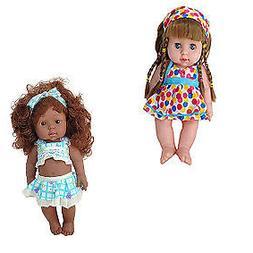 Cute Lifelike Girl Dolls African American Play Dolls 12 inch