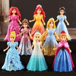 8pcs Cute Princess Action Figures Changed Dress Doll Kids Bo
