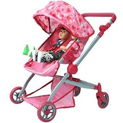 Deluxe Doll Twin Stroller - Pink Hearts Design Mega Twin Str